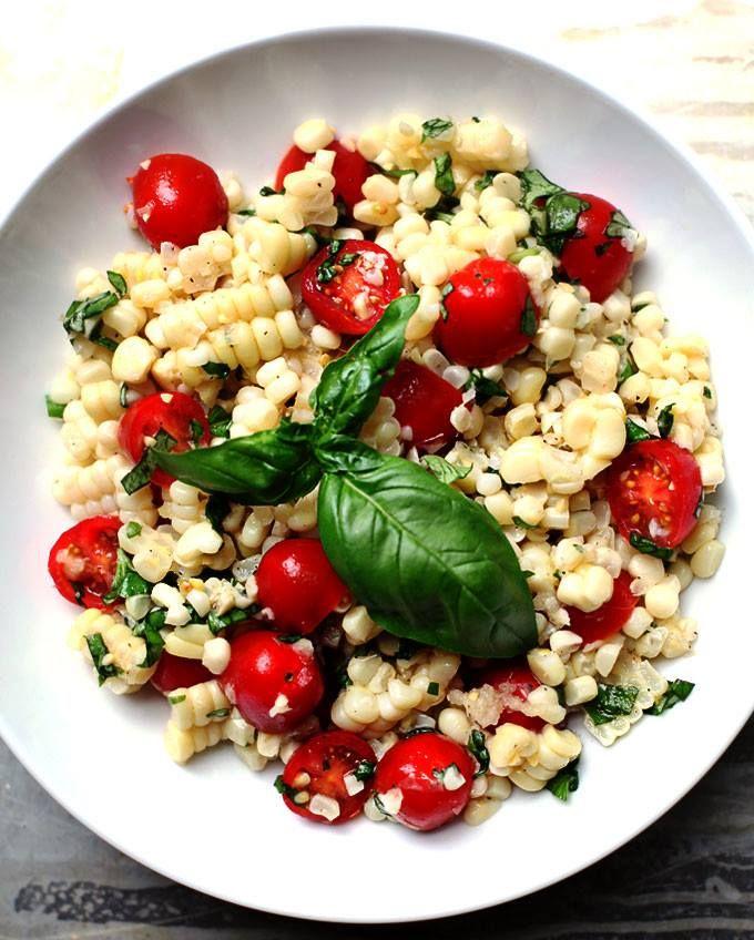 Fresh corn, tomato & basil salad | Recipes | Pinterest