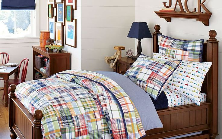 cute and colorful little boy bedroom ideas plaid and dark wood boys