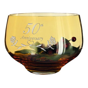 50th Golden Wedding Anniversary Gifts Crystal Bowl-m2