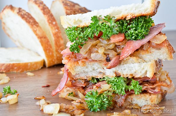 Bacon, Caramelized Onion and Chipotle Aioli Sandwich. #onions