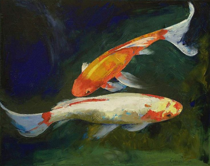 Feng shui koi fish michael creese painting pinterest for Paintings of fish