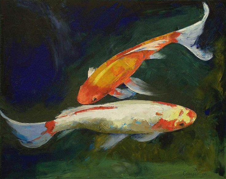 Feng shui koi fish michael creese painting pinterest for Koi fish artists