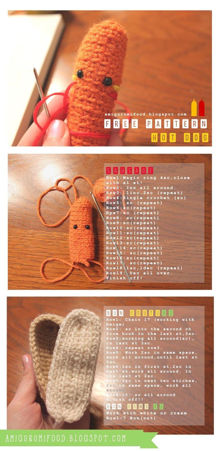 Amigurumi Hot Dog : Hot Dog free pattern!!Amigurumi Food and More Amigurumi ...