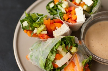 Summer Rolls with Spicy Peanut Sauce Recipes. #Recipes
