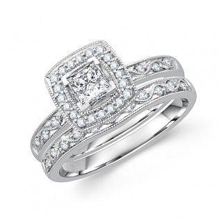 Princess Cut Diamond Framed Milgrain Wedding Ring