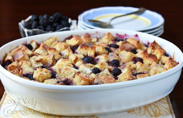 Old Fashioned Vanilla Bread Pudding with Blackberries from A Spicy ...