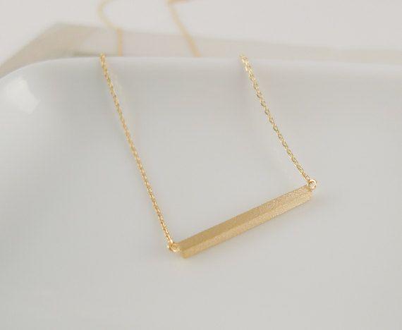 slim long gold bar necklace