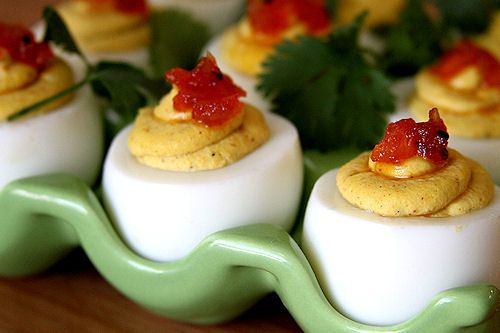 CURRIED DEVILED EGGS WITH TOMATO ONION CHUTNEY