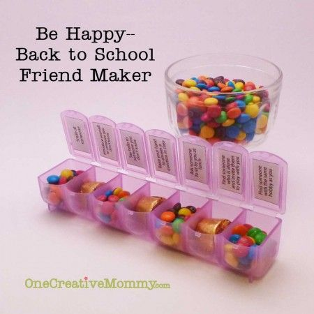 Be Happy Back to School Friend Maker Game with Free Printable from OneCreativeMommy.com {Help your kids break the ice and make new friends at school. Perfect for shy kids on the first day of school!}