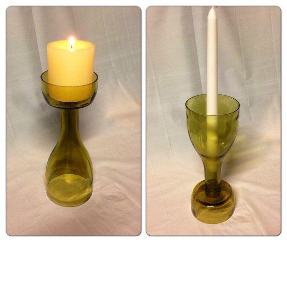 Wine Bottle Candle Holder. Recycled Glass Bottle. on Etsy, $10.00