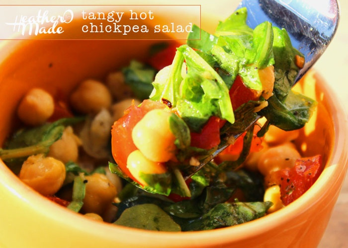 hot chickpea salad. chickpeas, jalapeno pepper, baby spinach, arugula ...