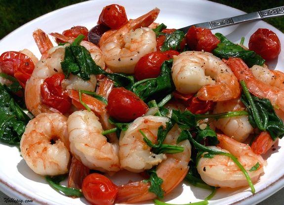 Sauteed Shrimp with Arugula and Tomatoes | Noble Pig // EVOO, grape ...