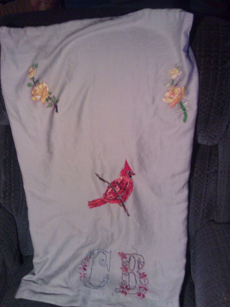 THE WHOLE FRONT OF PILLOW CASE I DREW PICS THEN HAND EMBROIDER THEM