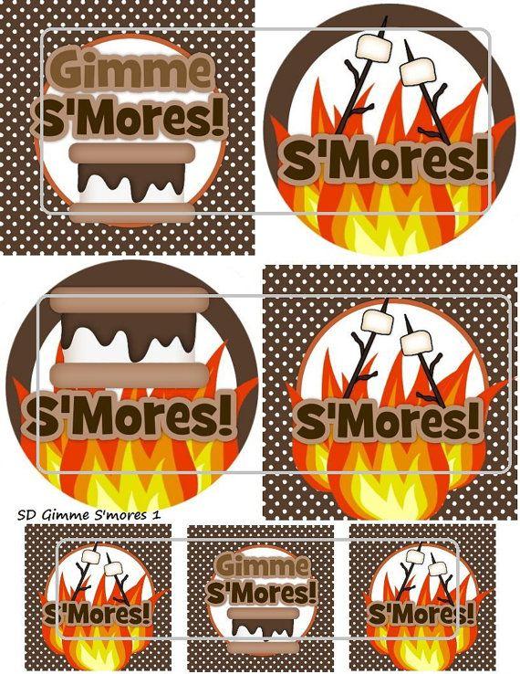 """DIY Printable """"Gimme S'mores 1"""" Shrinkable Digital Images (JPEG..."""