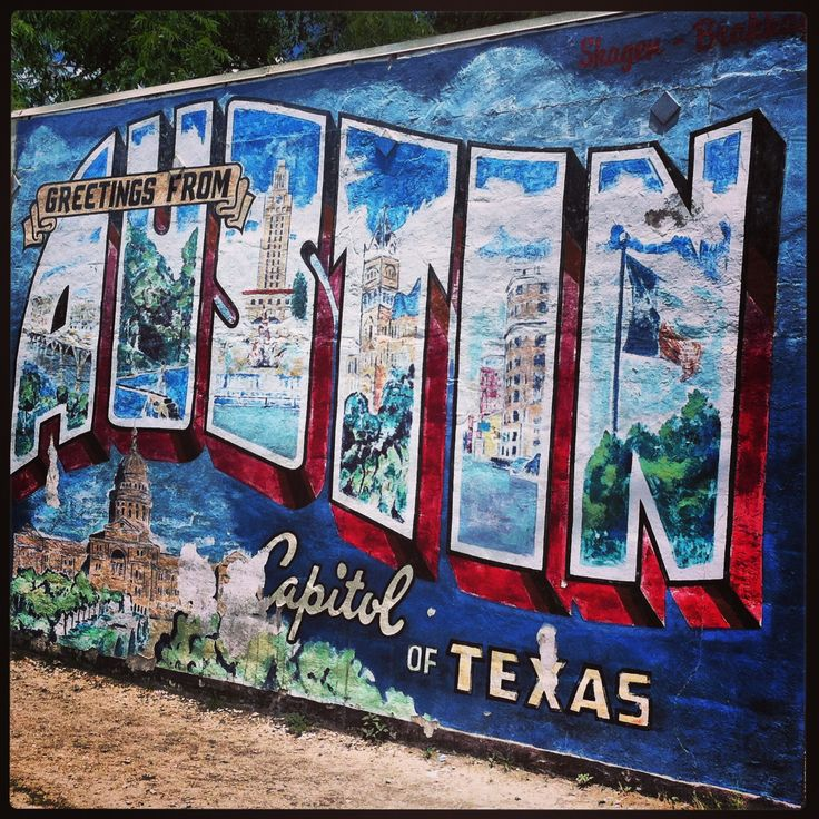 Iconic austin postcard wall mural lin launch pinterest for Austin mural wall