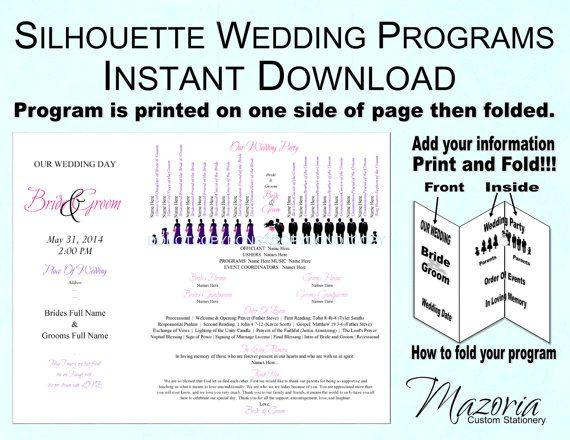 Silhouette Wedding Program Templates Free  Programs Templates Free