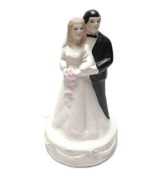 Wedding Cake Topper Vintage Bride Groom China Porcelain Figurine Blon