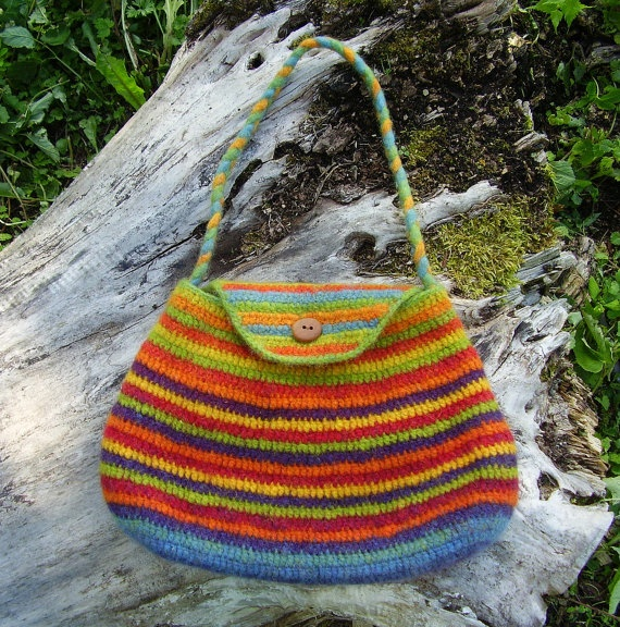 Felted Crochet Bag : Striped Crocheted Bag Purse-Felted-Rainbow Colours