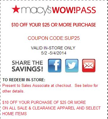 Macy's $10 off $25 coupon 2018