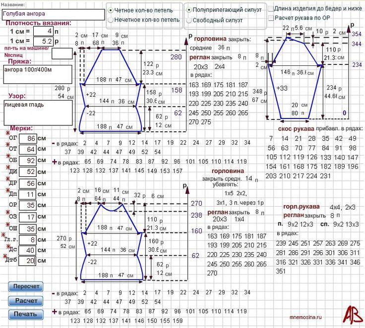 Калькулятор расчета петель для вязания спицами 83