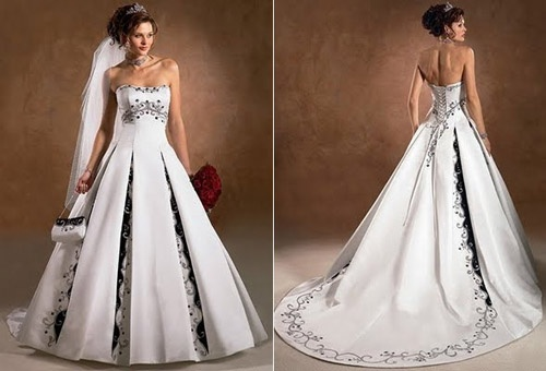 wedding dress with black detail