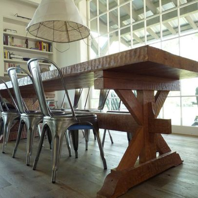 Farmhouse table metal chairs home ideas pinterest