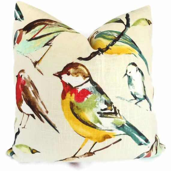 Song Birds Decorative Pillow Cover with Parrot, 18x18, 20x20, 22x22