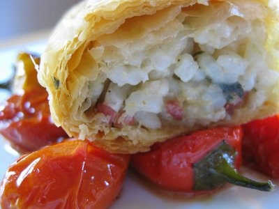 and Bacon Wrapped in Phyllo over Sweet & Spicy Roasted Cherry Tomatoes ...
