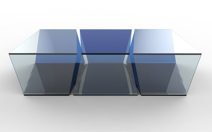 Yung coffee table glass table for roche bobois for Table basse verre roche bobois