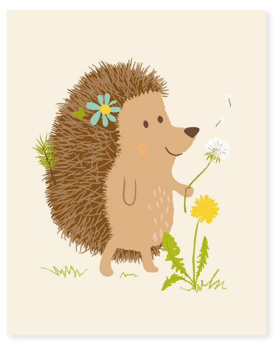 hedgehog  woodland art print 8x10  nursery art by SeaUrchinStudio, $15.00