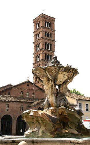 Rom, Piazza Bocca della Verità, Santa Maria in Cosmedin und Fontana dei Tritoni (Tritons' Fountain)
