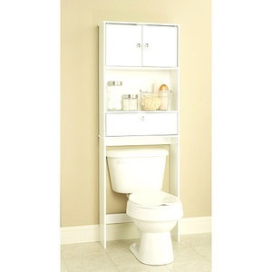 These bathroom cabinets are an inexpensive way to add organization and space to bathrooms. You can find them in Walmart, Kmart, Target, Lowes, or any kind of store that has bathroom accessories. This one shown is $29.97 from Walmart.