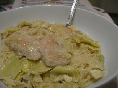11/17/11 - chicken with artichokes, lemon, & angel hair. not a ...