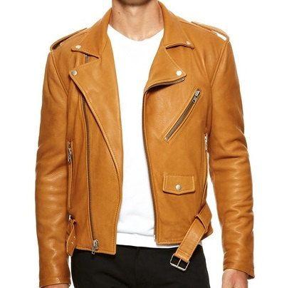Handmade Men Tan Brown Color Leather Jacket Mens Leather Jackets Meu2026