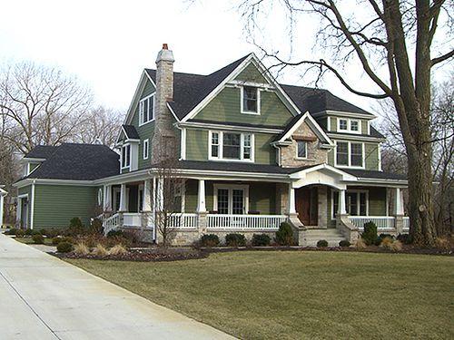 Beautiful Green American Farm House Farmhouse Pinterest