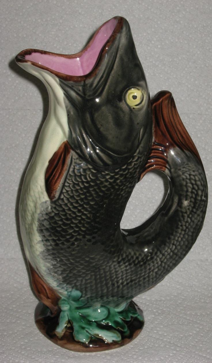 Antique english majolica gurgle fish jug pitcher great colors 11 1 2 - Fish pitcher gurgle ...