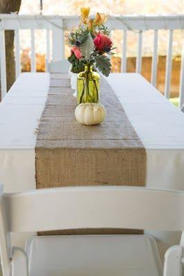october bridal shower table decor... burlap runner, & white mini pumpkins