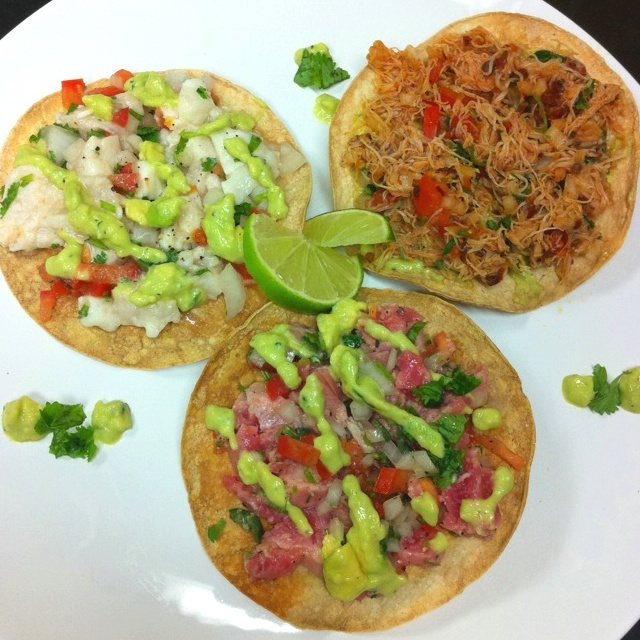 Ceviche Tostadas with an Avocado Aioli (Crab and Chipotle, Ahi tuna ...