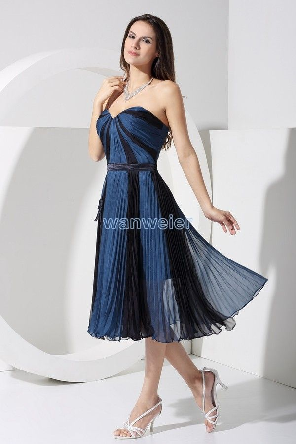 Tea Length Chiffon Blue Bridesmaid Dress Simply Bridal Wedding