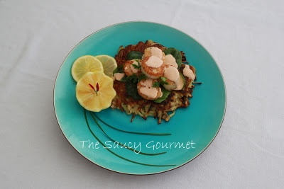 Caramelized Scallops over Red Bliss Potato Pancakes with Smoked Chili ...