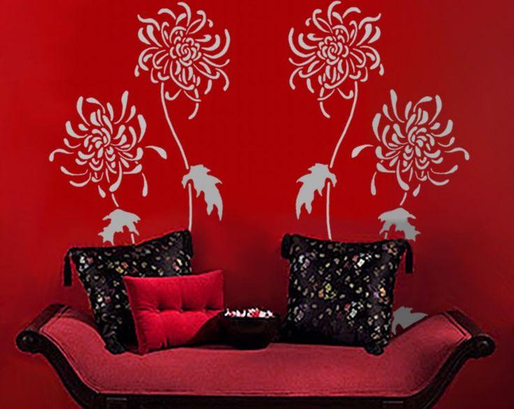 stencil for walls large chrysanthemum flowers reusable stencil