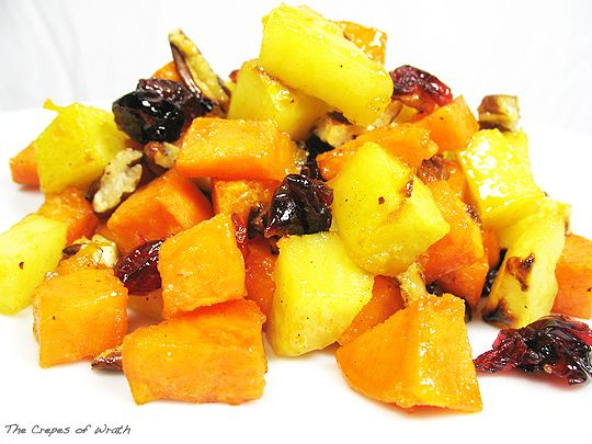 Sweet yams roasted with maple syrup and honey and tossed with dried ...