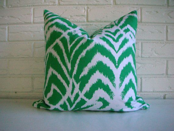 Emerald Green Ikat Pillow Cover  Decorative by habitationBoheme, $42.00