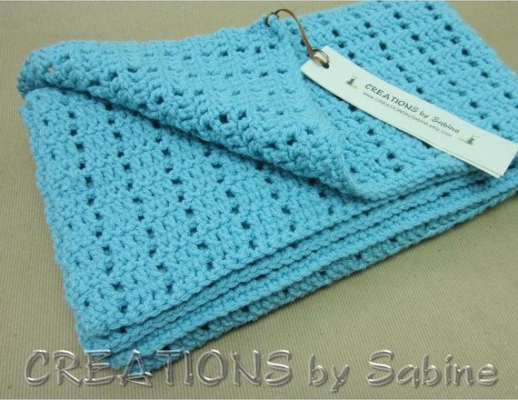 Crochet Lap Blanket : Baby Crochet Afghan Lap Blanket / Crocheted Throw / 28x38 / teal deep ...