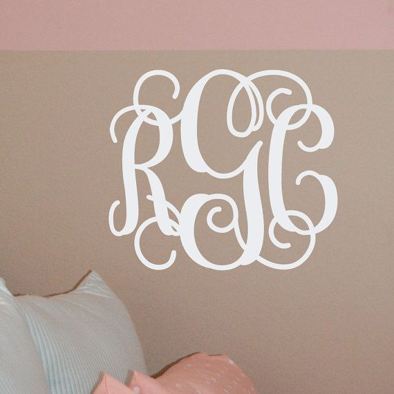 14x16 MONOGRAM Wall Decal (3 Initial Design) vinyl monogram letters ...