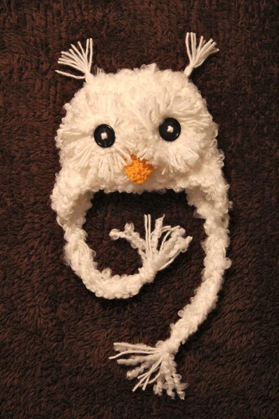 Crochet Patterns Owl Hat : Snow Owl Hat - no pattern Cute crochet hat patterns for ...
