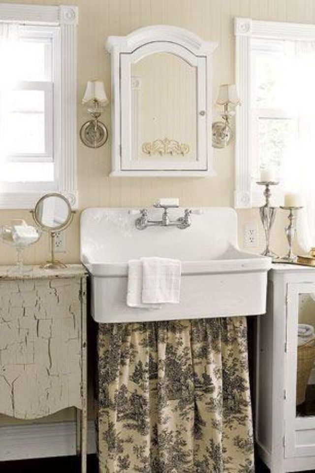 Shabby bathroom with farmhouse sink