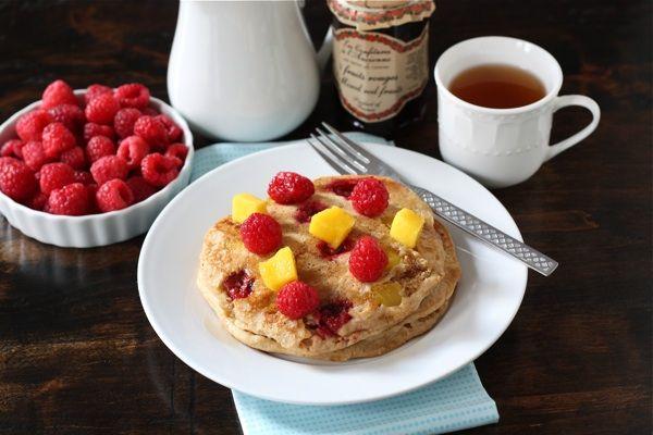 whole wheat raspberry & mango pancakes...think I would use regualr ...