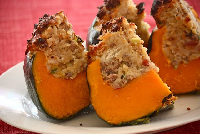 Buttercup Squash with Sausage and Apple Stuffing
