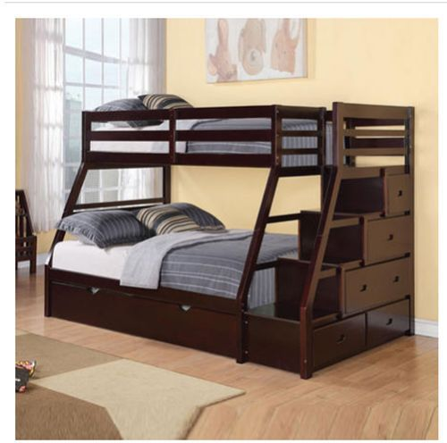 Beds Stairway Chest Twin Full Bunk Bed Trundle Kids Bedroom F